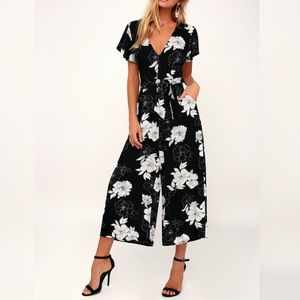 Lulu's North Pacific Floral Print Culotte Jumpsuit